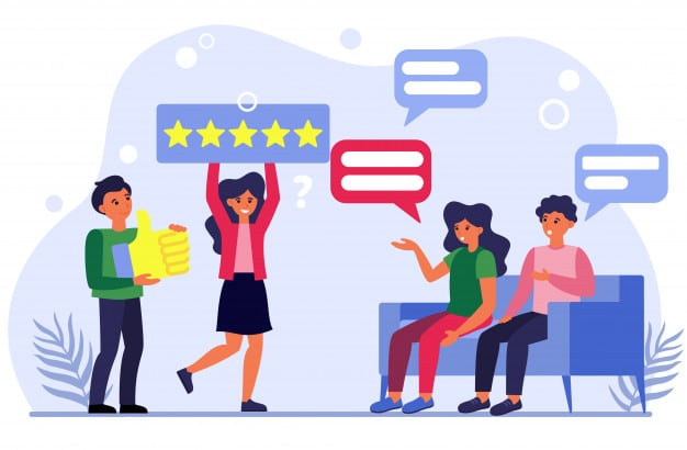 People discussing media ratings Free Vector